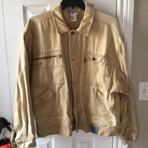 Vintage Don't Stop mens khaki denim jacket!